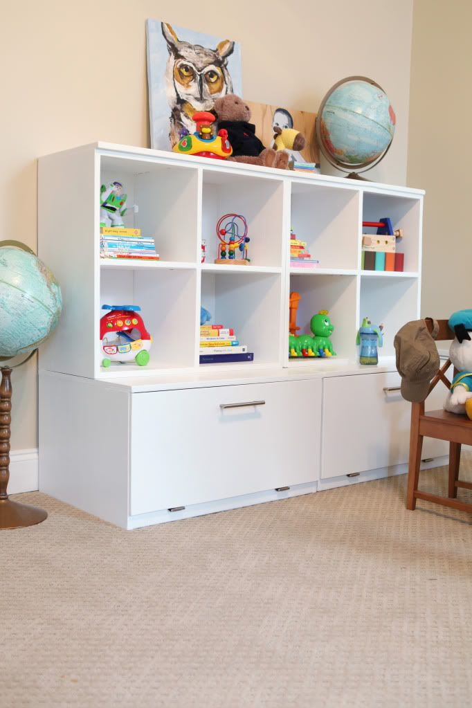 DIY Toy Storage Cubbies over Toy Box- OR use as craft supply storage...obviously!