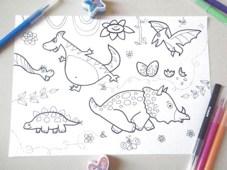 Pennarello - dinosauri disegno da colorare bambini baby - un prodotto unico di LaSoffittaDiSte su DaWanda