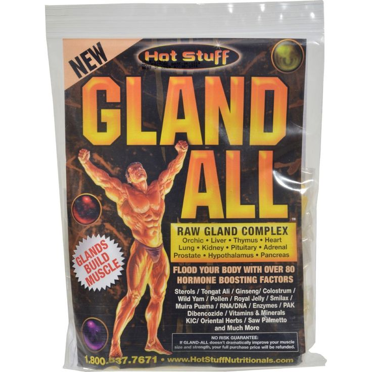 Enjoy Hot Stuff Gland All Raw Gland Complex – 30 Packets every day at these amazing prices! GLAND-ALL All Natural Raw Gland Complex Has Been Designed Specifically To Increase Muscle Mass And Strength, Boost Muscular Definition And Enhance Recovery From Exercise.It Will Also Increase Your Endurance Level For Harder Workouts. 30 Day Supply. Product characteristics include: Gland-All Partial Ingredients: Sterols, Tongat Ali, Ginseng, Wild Yam, Pollen, Smilax, Muira Puama, Enzymes, PAK…