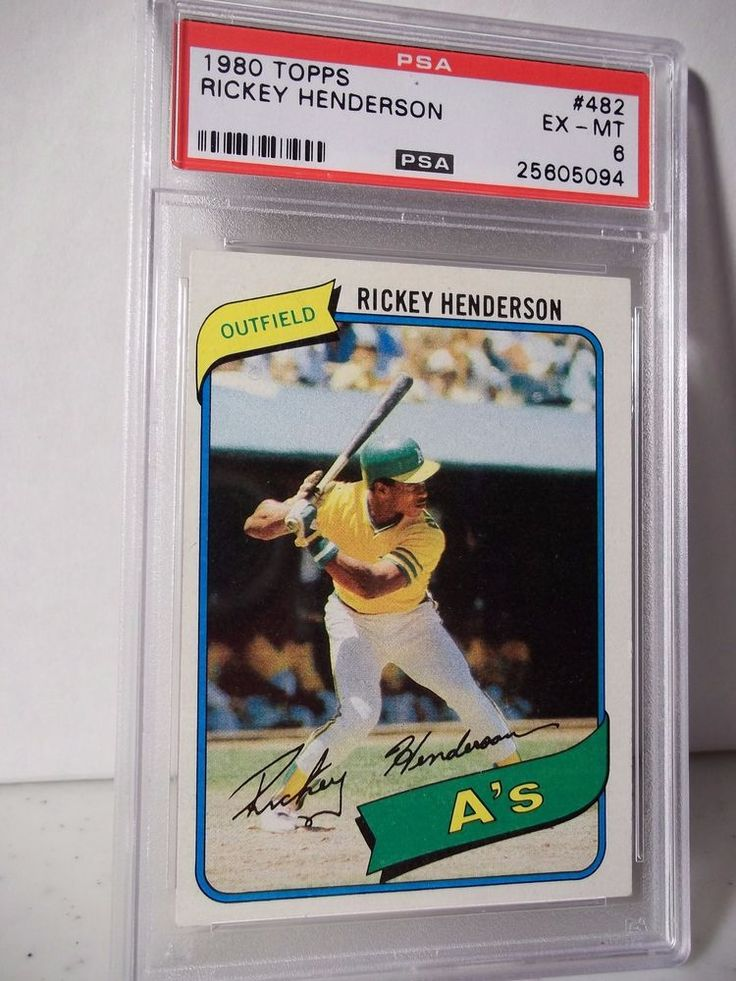 1980 topps rickey henderson rc psa exmt 6 baseball card