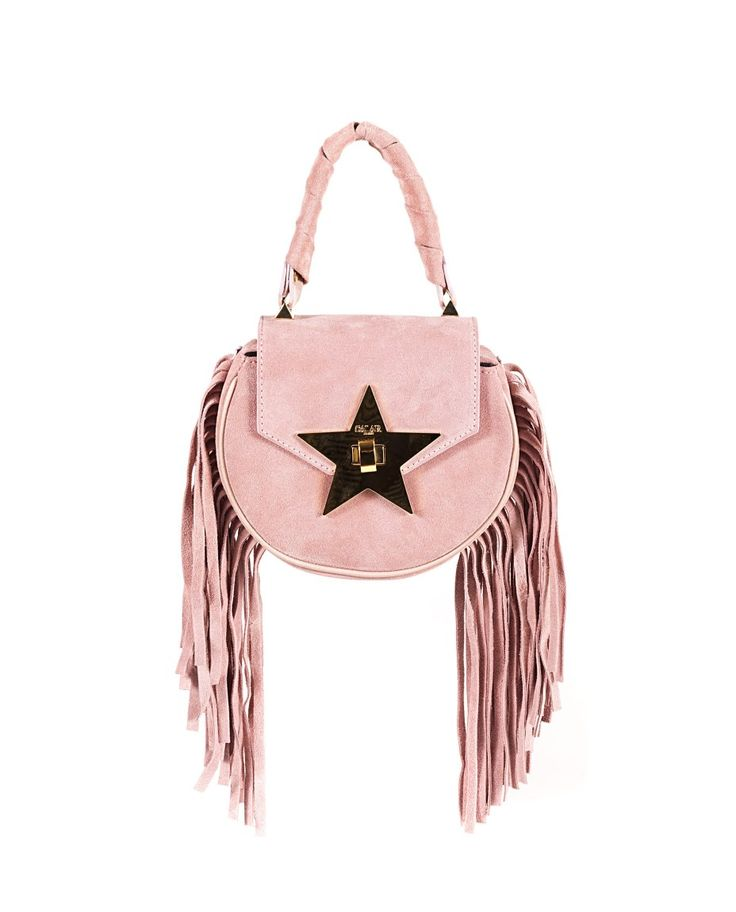 SALAR Pink leather handbag with fringes with twisted leather handle removable leather shoulder strap star on the front flap inner lining turn lock on the front flap Size: 18x16x6 cm 100% Lambskin
