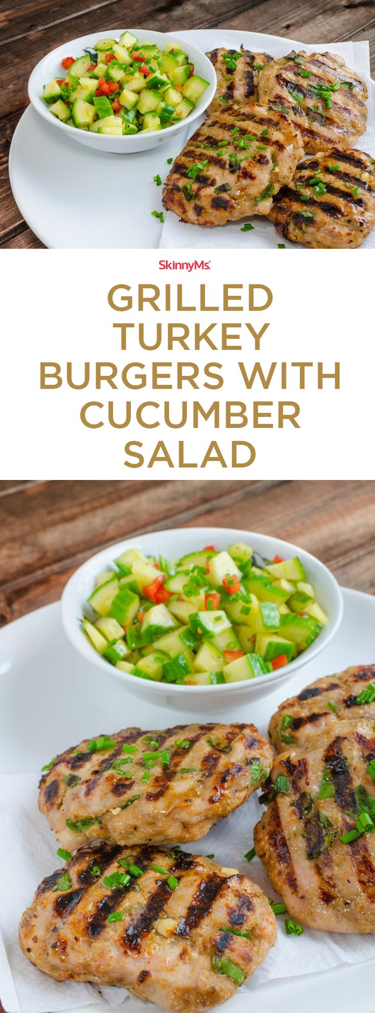 Fire up the grill for Memorial Day because we have Grilled Turkey Burgers with Cucumber Salad on the menu! The Burgers are so juicy, flavorful minus the carbs!  #skinnyms #memorialday #lowcarb