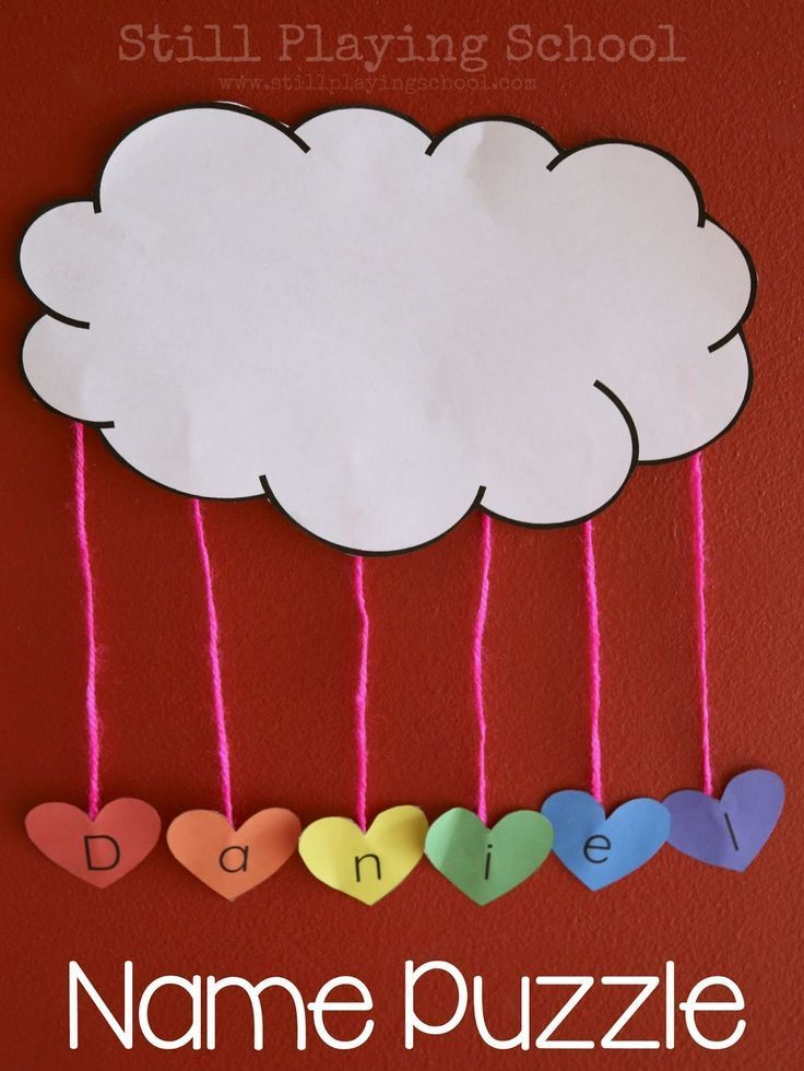 Create a name puzzle craft with kids inspired by The Day it Rained Hearts