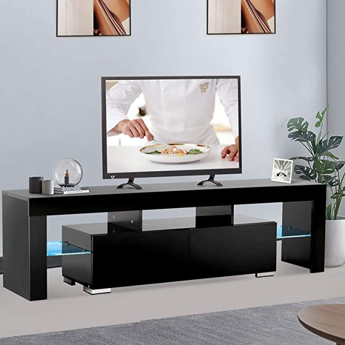 Mecor Black Tv Stand With Remote Control Lights 12 Colors Led Tv Stand W Storage 2 Tv Stand Decor Living Room Living Room Tv Tv Stand With Storage
