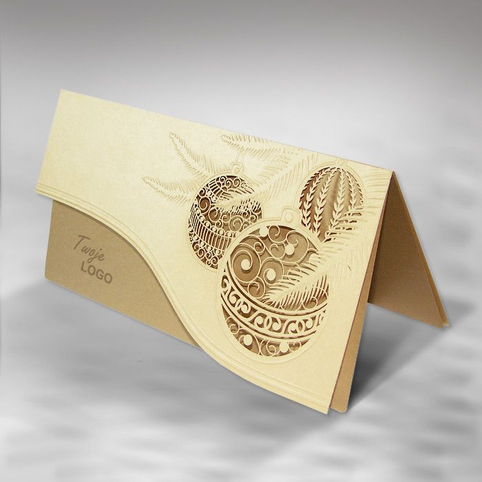 the christmas card is made of high quality pearl ecru paper the pearl ecru cover has laser cut three christmas tree ornaments and they are embossed at the - Laser Cut Christmas Cards