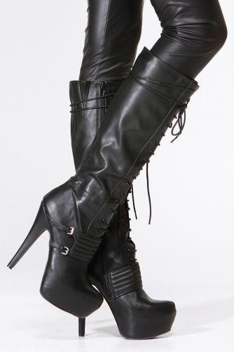 Qupid Black Lace Up Platform Stiletto Knee High Boot