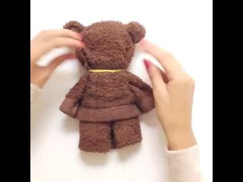 How to make a super cute Teddy Bear wearing a towel - YouTube