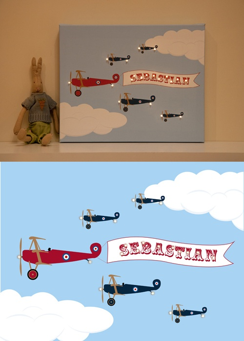 This personalised plane pic is really gorgeous for a christening present or birthday or birthday.  Love the LED lights.