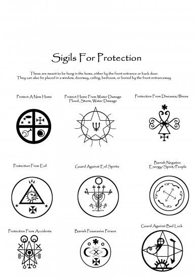 Book of Shadows Page: Magick Sigils for Spells: PROTECTION