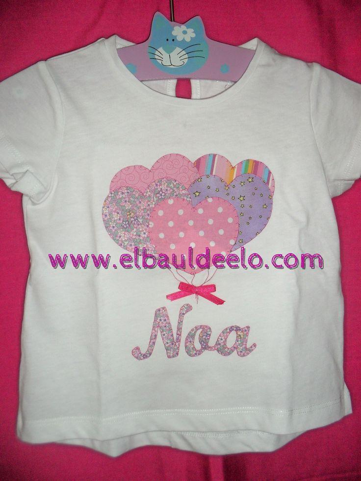 www.elbauldeelo.com aplicacion camiseta patchwork globos corazones Noa