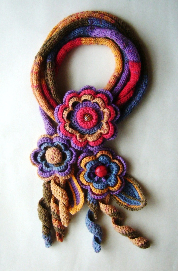 Crochet Knitted Multicoloured wool scarf lariat belt headband detachable brooch  http://www.etsy.com/shop/CraftsbySigita?ref=si_shop