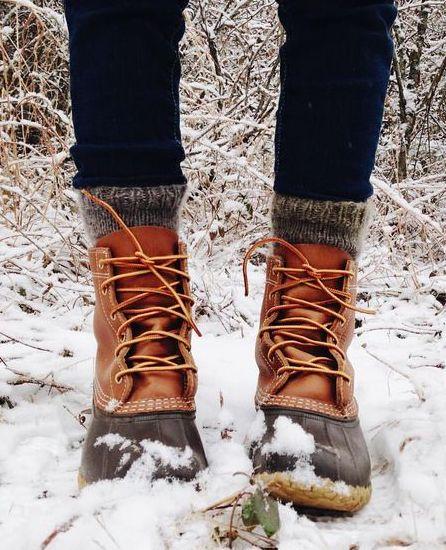 wool socks + duck boots