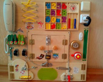 BUSY BOARD Sensory toy Activity game for boy by LinearaHandMade