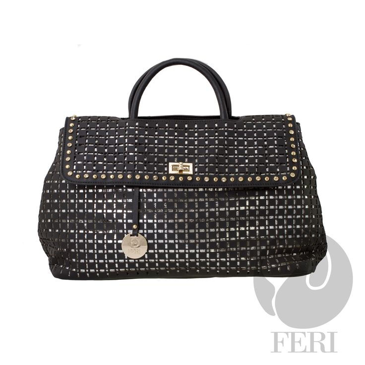 "FERI Day2Day - Nisha - Purse - Black  - Oversized faux leather purse - Laser cutouts to reveal shiny PU leather - Gold toned hardware - FERI embossed on the bottom of bag - Flap top closure - Customized FERI lining with zippered pouch - Comes with matching shoulder strap - Dimension: 21.26"" x 11.81"" x 7.1""   www.gwtcorp.com/ghem or email fashionforghem.com for big discount"