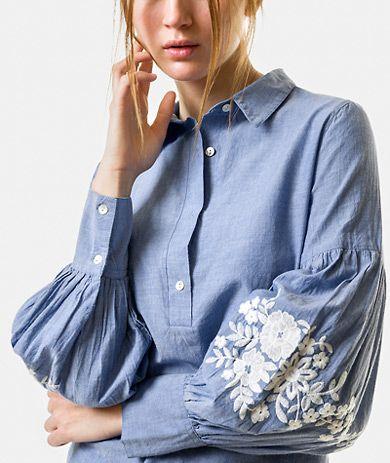 Blusa com bordados Camisas Mulher | Túnicas Mulher | LANIDOR.COM - Mobile Shop Online