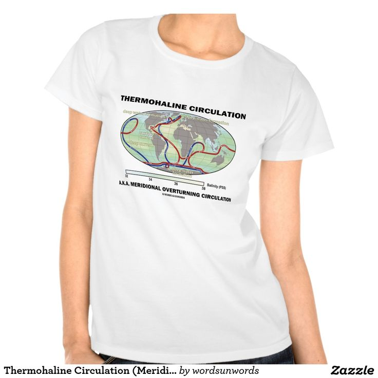 "Thermohaline Circulation (Meridional Overturning) T Shirts #thermohaline #circulation #meridional #overturning #oceancurrents #oceanography #earthscience #oceanographer #wordsandunwords Here's a tee featuring ""Thermohaline Circulation"" also known as meridional overturning circulation, the large-scale ocean circulation that is driven by global density gradients created by surface heat and freshwater fluxes."