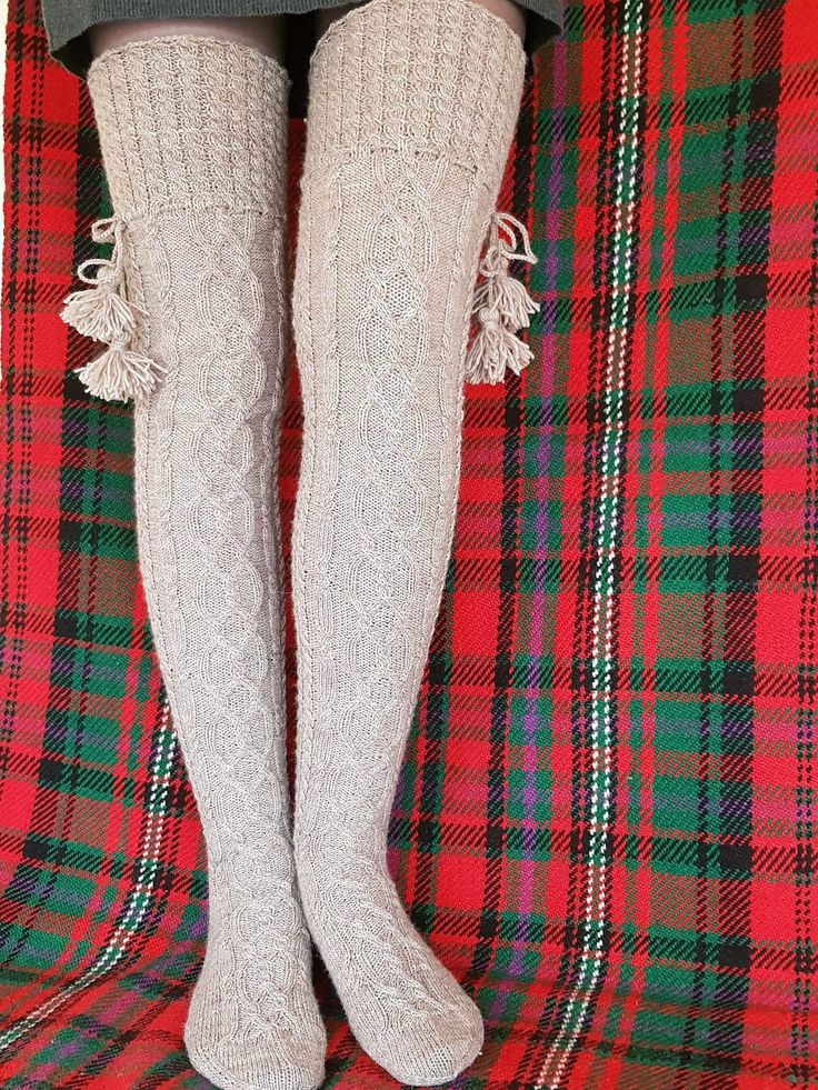 Knit socks Wool socks Overknee socks Knit high knee socks Beige socks Thigh high socks High socks size 39/EU