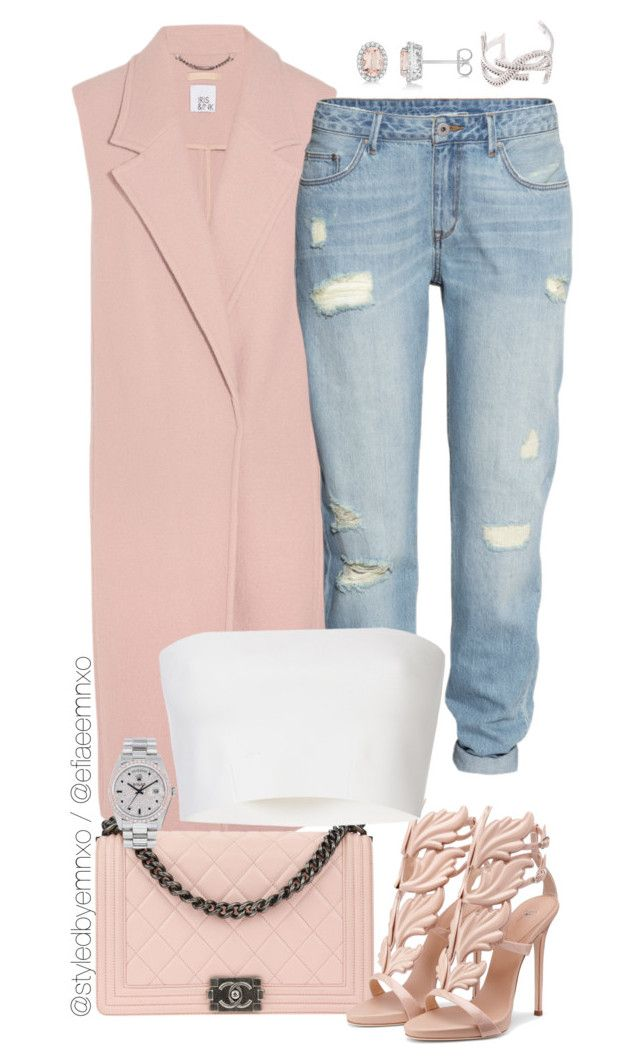"""Pastels"" by efiaeemnxo ❤ liked on Polyvore featuring Iris & Ink, H&M, Chanel, Pièce d'Anarchive, Allurez, Yves Saint Laurent, Rolex, sbemnxo and styledbyemnxo"