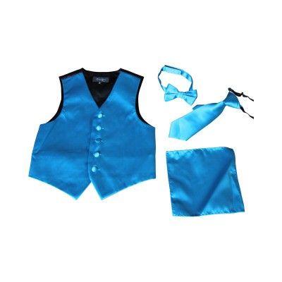 BIMARO Jungen Anzug Weste Alex türkis blau Set Krawatte Fliege Tuch festlich Hochzeit Weihnachten Konfirmation Taufe