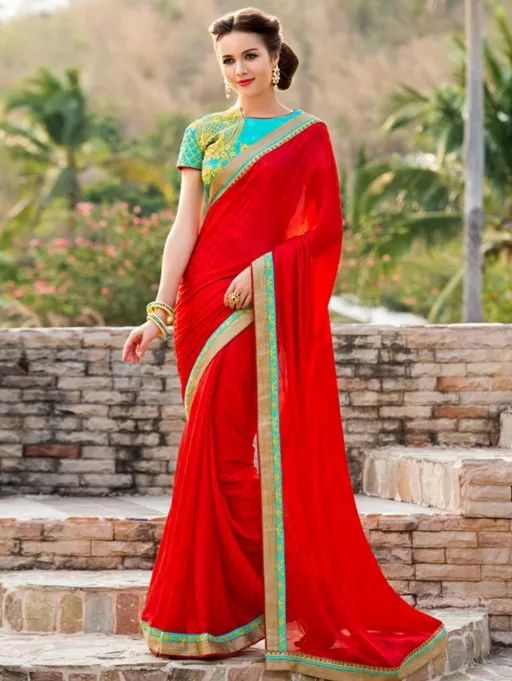 Red Satin Chiffon Saree with Lace Work