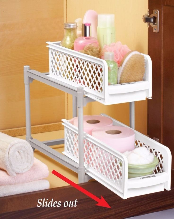 Two-tier Under Sink Sliding Shelf Removable Baskets Bathroom or Kitchen Display#BathroomStorage #SlidingShelf #Storage #TwotierUnderSink #ToiletPaperHolder #Stand #Covers #Organizer #KitchenDecor #Bath #HomeDecor #Home