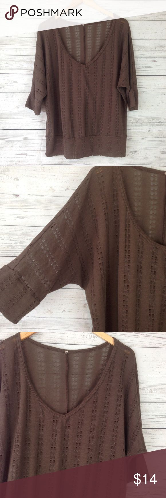 """Dolman knit batwing brown XL Shirt top blouse T7 measurementswhen flat: ~Bust (armpit to armpit) open waist 19"""" ~length (shoulder down side) 25""""  size XL  has stretch!  light weight  has some piling from wear still nice and soft!  PLEASE CONTACT ME with any questions orconcerns beforeor after a purchase! i am here to help! :) no tag Tops Blouses"""