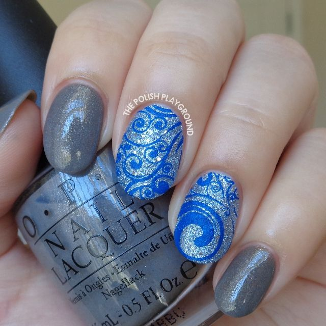 Grey with Blue Texture and Dark Blue Swirls Stamping