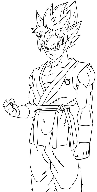 Goku SSJ Blue Lineart 2 by SaoDVD