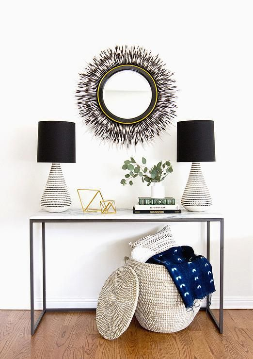 West Elm Box Frame Console Table and Porcupine Quill Mirror