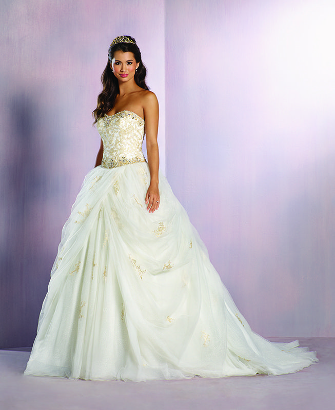 Stunning ivory and gold princess belle inspired wedding for Belle style wedding dress