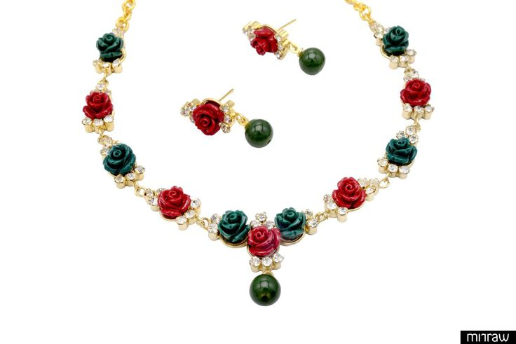 beautiful flower coral necklace set with earrings