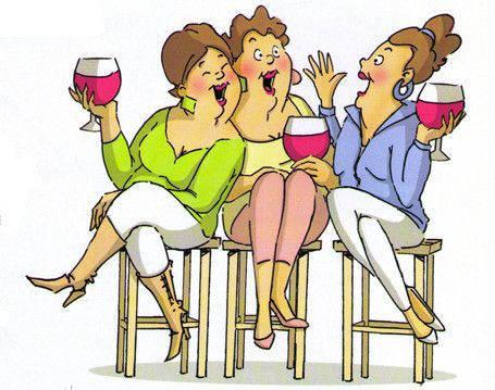 Girlfriends tasting wine U4387 *Available mounted on wood or un-mounted on Cushion