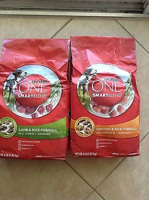 2 Purina ONE SmartBlend (1) Lamb (1) Chicken Formula Premium Dog Food 4 lb. Bag