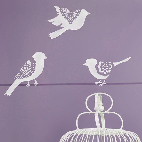 Wall Art Lace Bird Stencil Set - Royal Design Studio Stencils