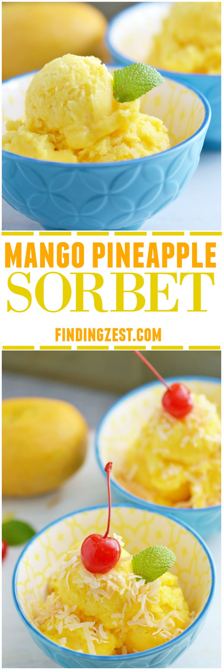 Only three ingredients and a blender are needed to make this homemade Mango Pineapple Sorbet. Add toasted coconut & a cherry for a tropical dessert! Kids will love this healthier alternative to ice cream.