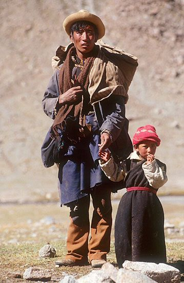 Tibetan Father & Child During Kailas kora (circuit)
