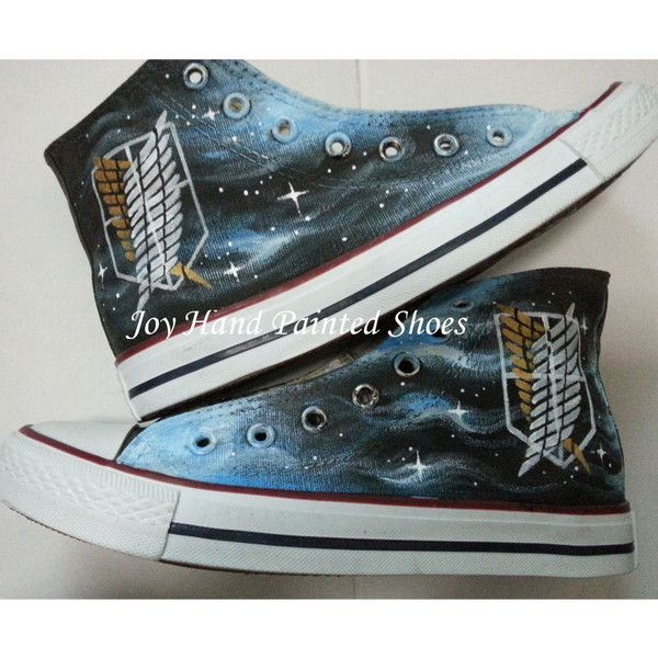 Attack on Titan Anime Converse Custom Painted Hi Top Canvas Attack on Titan  Shoes Converse Sneakers Hand Painted Shoes Black Canvas