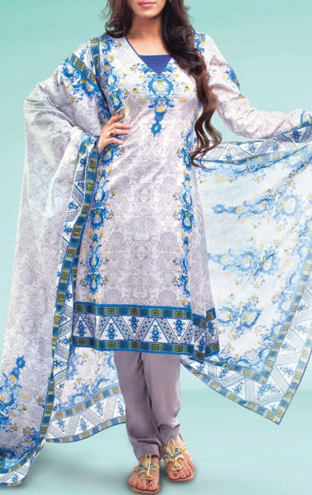 Printed Cotton Lawn Salwar Kameez by Warda Print Lawn 2015.