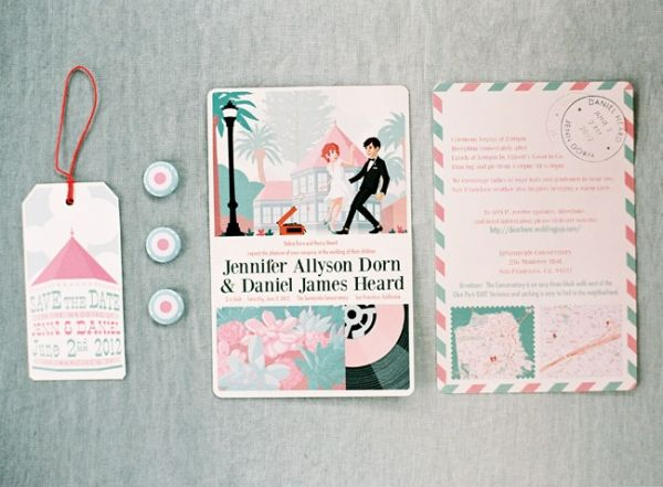 teal and pink wedding invitations designed by the groom // photo by Josh Gruetzmacher: