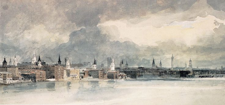 Study for the Eidometropolis: the Thames from Queenhithe to London Bridge by Thomas Girtin, Watercolor and pencil on paper, 1801, (British Museum, Londyn)