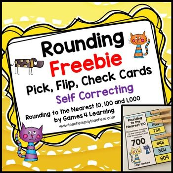 Rounding Freebie Pick, Flip, Check Cards: Rounding to the Nearest 10, 100 and 1,000: 6 Rounding cards by Games 4 Learning for reviewing rounding to the nearest 10, 100 and 1,000.These rounding cards are self correcting cards. Students use a clothespin or paper clip to pick the numbers that round to the given number then flip the card over to check their answers.