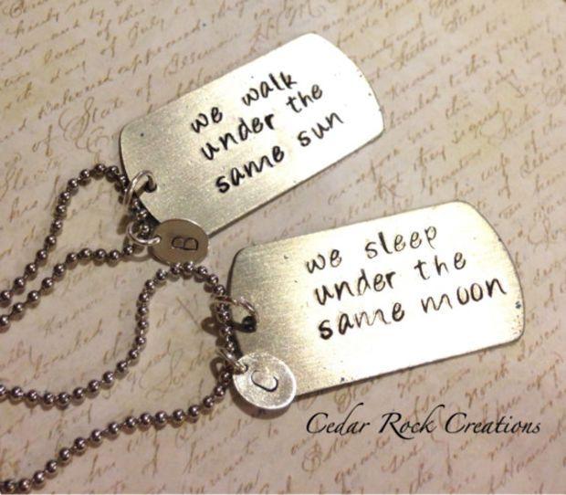 Couples Long Distance Necklace , Under the Same Sun/Moon, Long Distance Friends Necklace