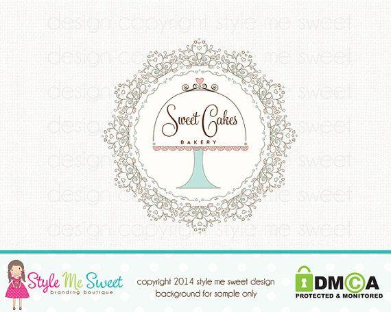 Bakery Logo Design  Custom Cake Stand by stylemesweetdesign