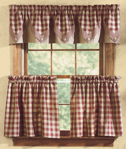 "Park Designs ""York"" Country Cottage Wine and Tan Check Curtain Tiers 72"" x 36"" 
