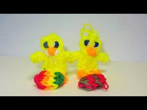 ▶ Rainbow Loom DUCK / DUCKLING or CHICK / CHICKEN (Easter) CHARM: Sits on it's own - YouTube