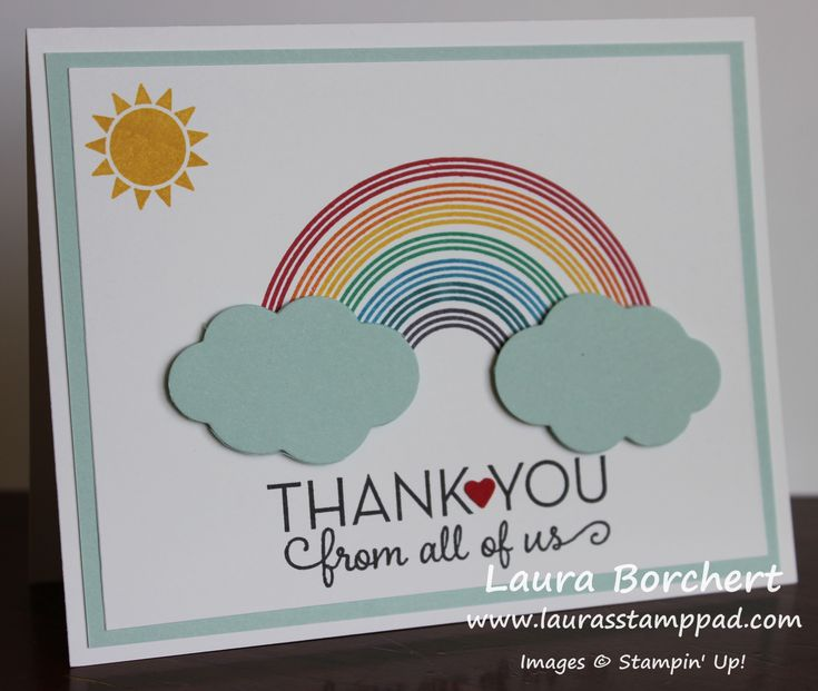 Beautiful Shining Rainbow Thank You Notes for the Baby ...