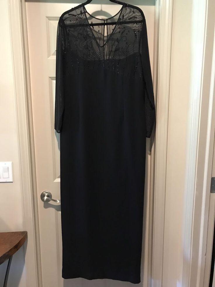 Karen Miller Dress Size 16 Mother Of The Bride Cruise Black Beaded Long Sleeve #Dress