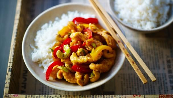 Crisp fried chicken with stir-fried vegetables and cashew nuts. Serve with steamed jasmine rice.