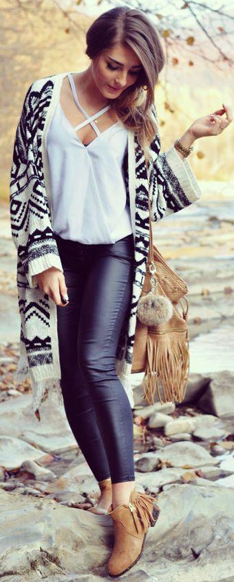 Styleev Aztec Cardi On Leather Pants Fall Street Style Inspo