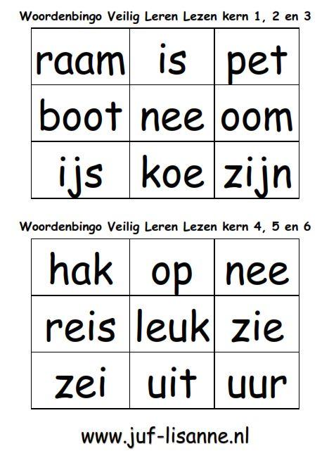 Deze woordbingo-kaarten kun je goed als aanvulling gebruiken bij het letterbingo-spel. De kaarten bevatten de woorden uit kern 1 tot en met 6 van Veilig Leren Lezen.